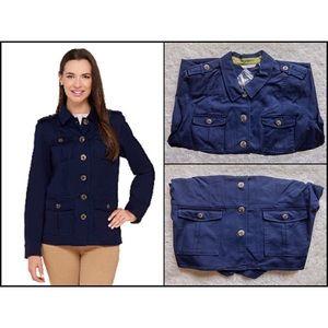 Isaac Mizrahi Button Front Pockets Cargo Jacket
